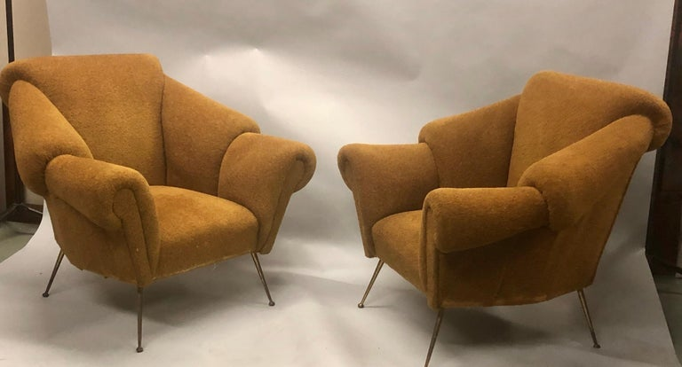 Pair of Italian Futurist Lounge Chairs / Armchairs Attributed to Giacomo Balla For Sale 4