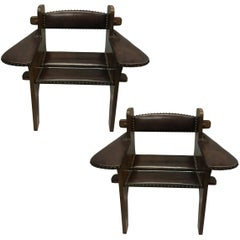 Pair of Italian Futurist Wood & Leather Lounge Chairs, Giacomo Balla Attributed