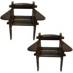 Pair of Italian Futurist Wood & Leather Lounge Chairs, Giacomo Balla Attributed