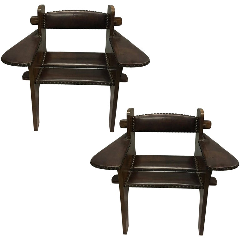 Pair of Italian Futurist Wood & Leather Lounge Chairs, Giacomo Balla Attributed For Sale