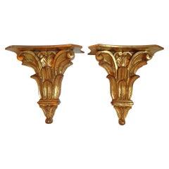 Pair of Italian Gilded Brackets