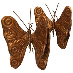 Pair of Italian Gilded Metal Butterflies