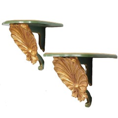 Pair of Italian Gilt and Painted Wall Brackets