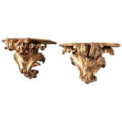 Pair Large Italian Gilt-Carved Brackets