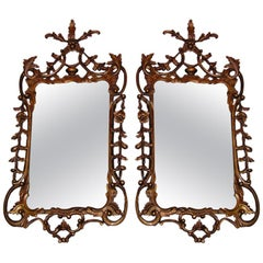 Pair of Italian Gilt Carved Floral Wall Mirrors. Circa 1780