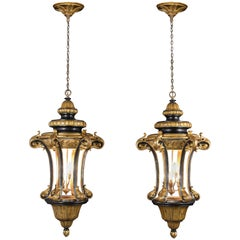Pair of Italian Gilt Ebonized Carved Lanterns