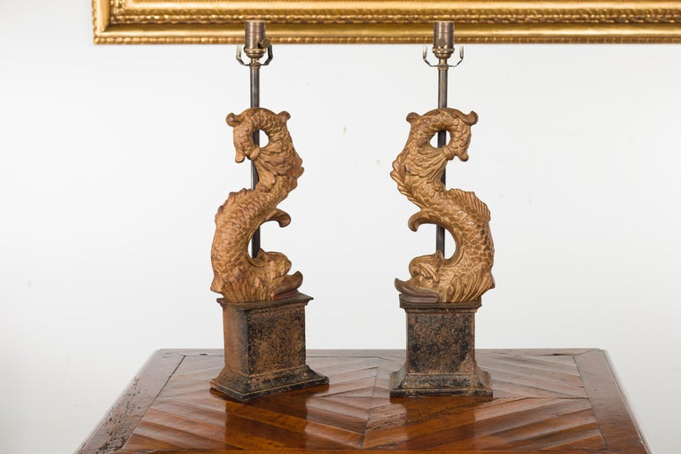 Pair of Italian Gilt Iron Baroque Style 1920s Dolphins Made into Lamps For Sale 9