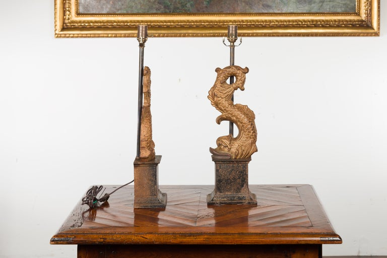 Pair of Italian Gilt Iron Baroque Style 1920s Dolphins Made into Lamps For Sale 11