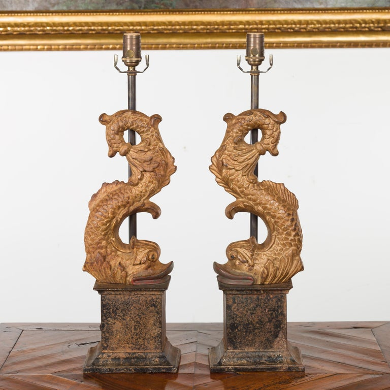 20th Century Pair of Italian Gilt Iron Baroque Style 1920s Dolphins Made into Lamps For Sale