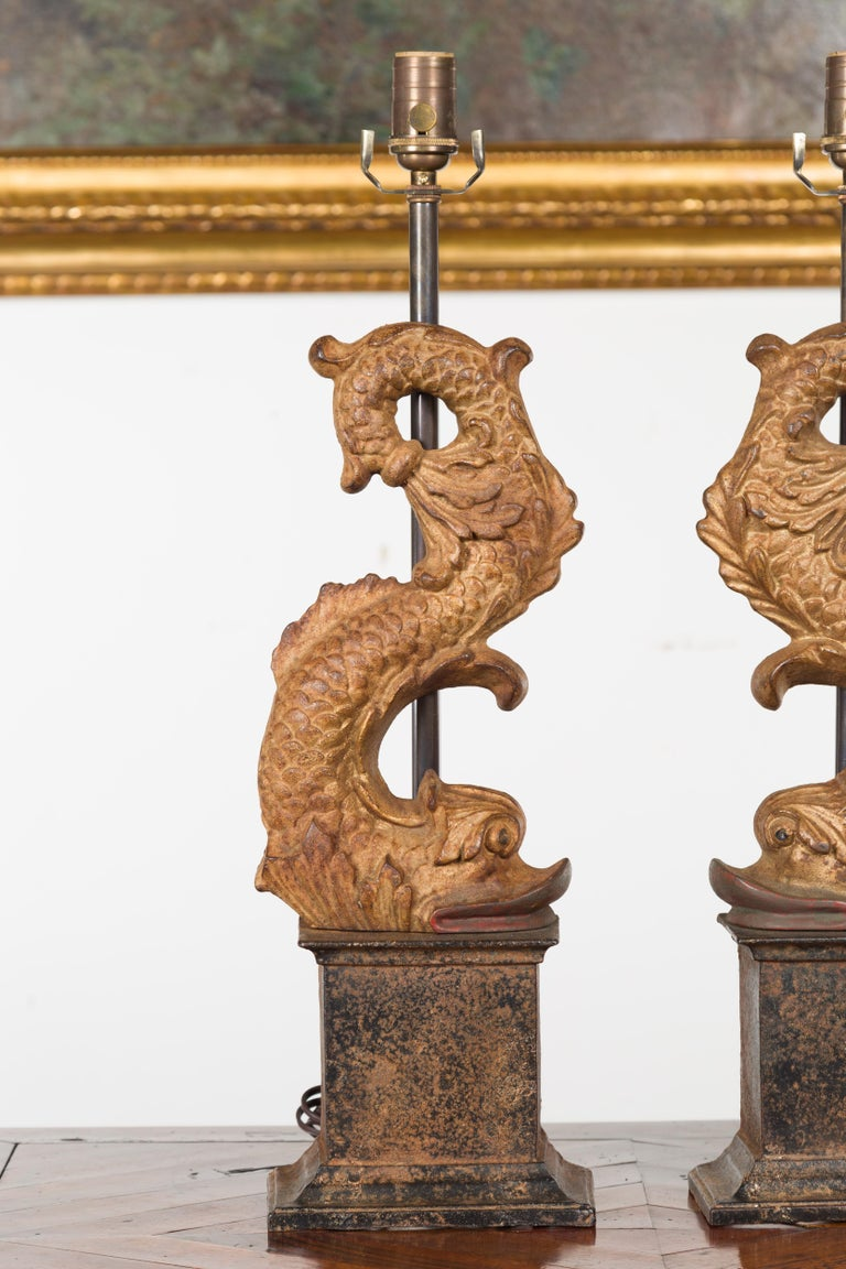 Pair of Italian Gilt Iron Baroque Style 1920s Dolphins Made into Lamps For Sale 1
