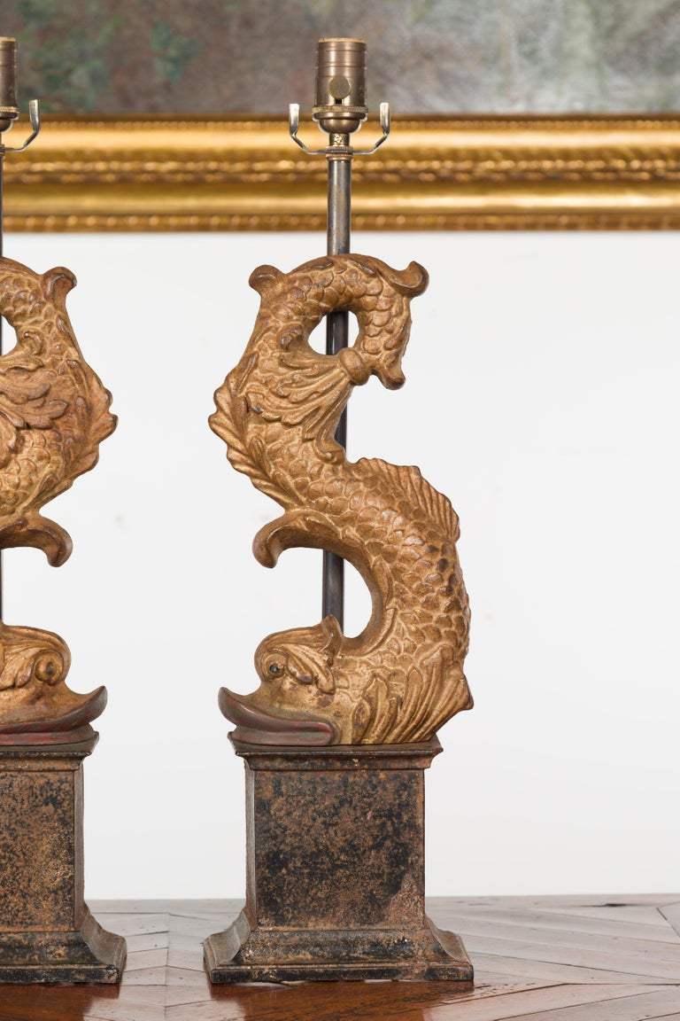 Pair of Italian Gilt Iron Baroque Style 1920s Dolphins Made into Lamps For Sale 2