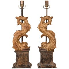 Pair of Italian Gilt Iron Baroque Style 1920s Dolphins Made into Lamps