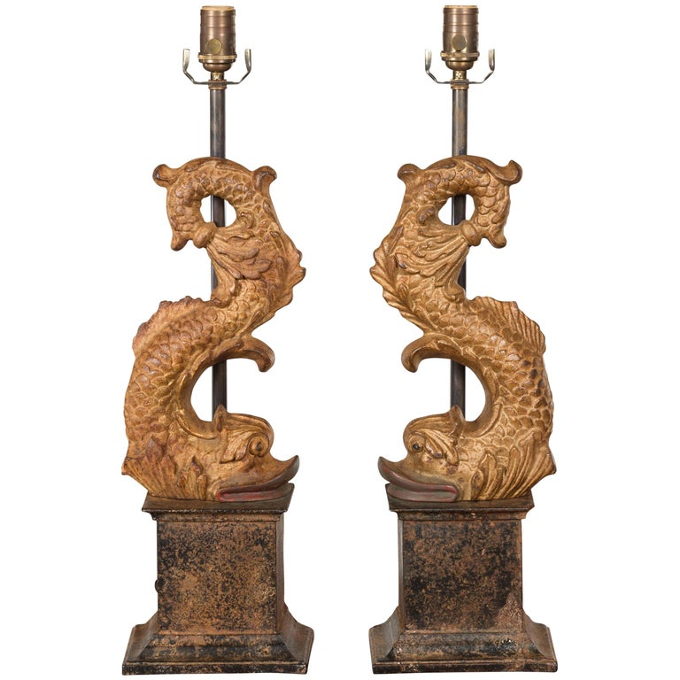 Pair of Italian Gilt Iron Baroque Style 1920s Dolphins Made into Lamps For Sale