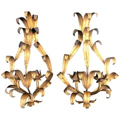 Pair of Italian Gilt Iron Wall Sconces