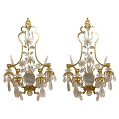 Pair of Italian Gilt Metal and Crystal Wall Sconces