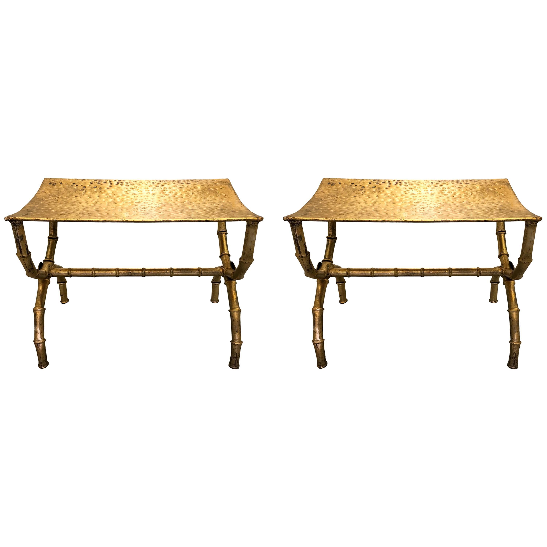Pair of Italian Gilt Metal Bamboo Benches