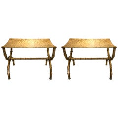 Pair of Italian Gilt Metal Bamboo Benches