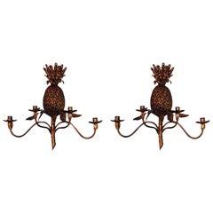 Pair of Italian Gilt Metal Pineapple Sconces