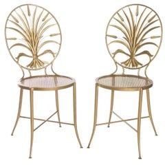 Pair of Italian Gilt Metal Sheaf of Wheat Side Chairs by S. Salvadori