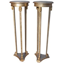 Pair of Italian Gilt Neoclassical Torchere Stands Mid-Century Modern