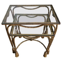 Pair of Italian Gilt Nesting Tables with Rope and Tassel Detail