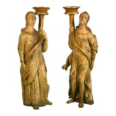 Pair of Italian Gilt & Painted Figures of Candle bearing Angels