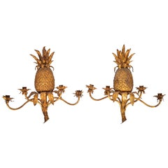 Pair of Italian Gilt Tole and Bronze Four-Arm Pineapple Wall Sconces
