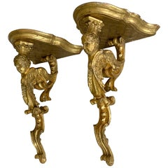 Pair of Italian Giltwood Sphinx Wall Shelves, 18th Century, Directoire Period