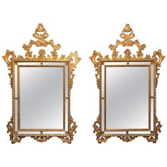 Pair of Italian Giltwood Wall / Console Mirrors, Frosted Border Finely Carved