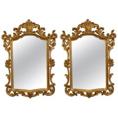 Pair of Italian Gilt Wood Wall or Console Mirrors