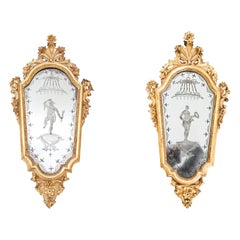 Pair of Italian Giltwood Baroque Mirrors, 18th Century
