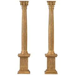 Pair of Italian Giltwood Classical Columns