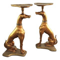 Pair of Italian Giltwood Greyhounds Side Tables, Attributed to Jansen