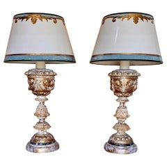 Pair of Italian Giltwood Lamps with Parchment Shades