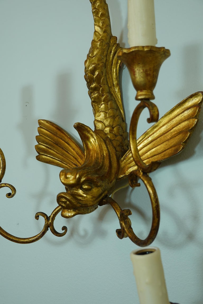 Pair of Italian Giltwood Sconces Featuring Mythical Dolphins For Sale 3