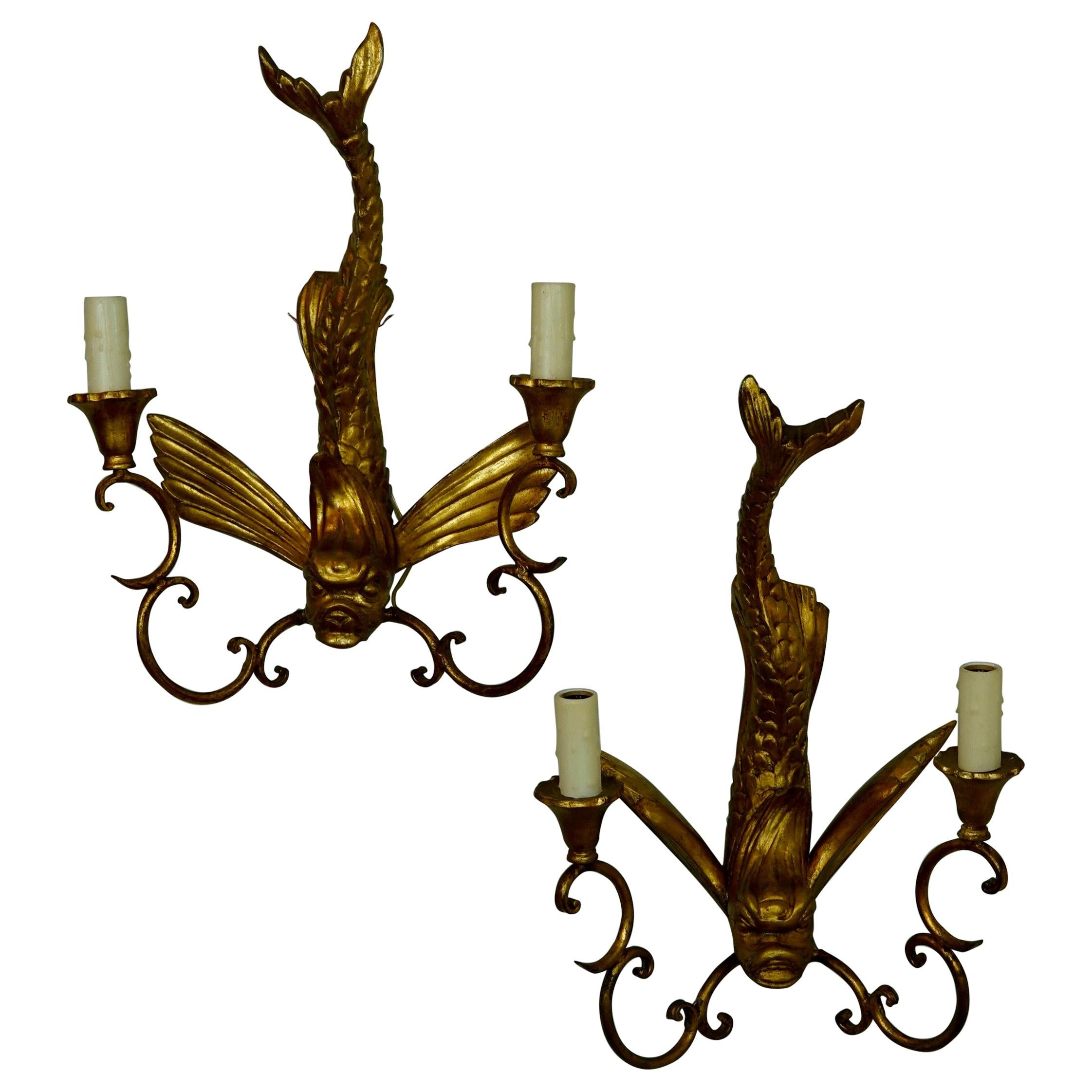 Pair of Italian Giltwood Sconces Featuring Mythical Dolphins