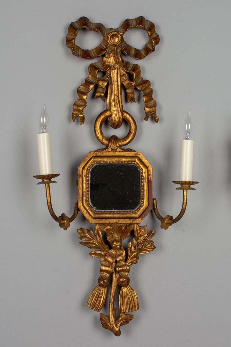 French Provincial Pair of Italian Giltwood Sconces For Sale