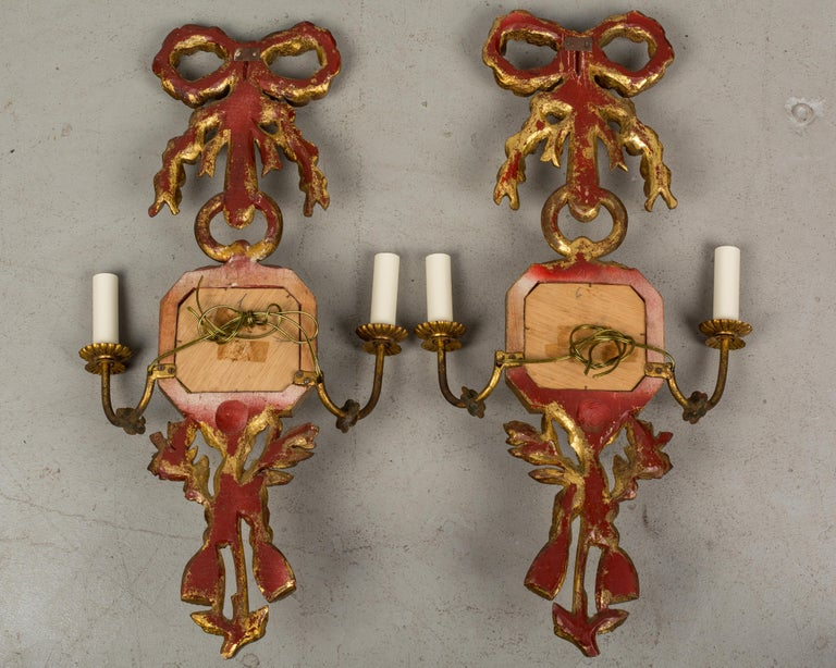 Metal Pair of Italian Giltwood Sconces For Sale