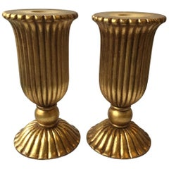 Pair of Italian Giltwood Urn Shaped  Lamp/Table Bases