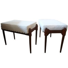 Pair of Italian Gio Ponti Inspired Mid Century Benches or Ottomans
