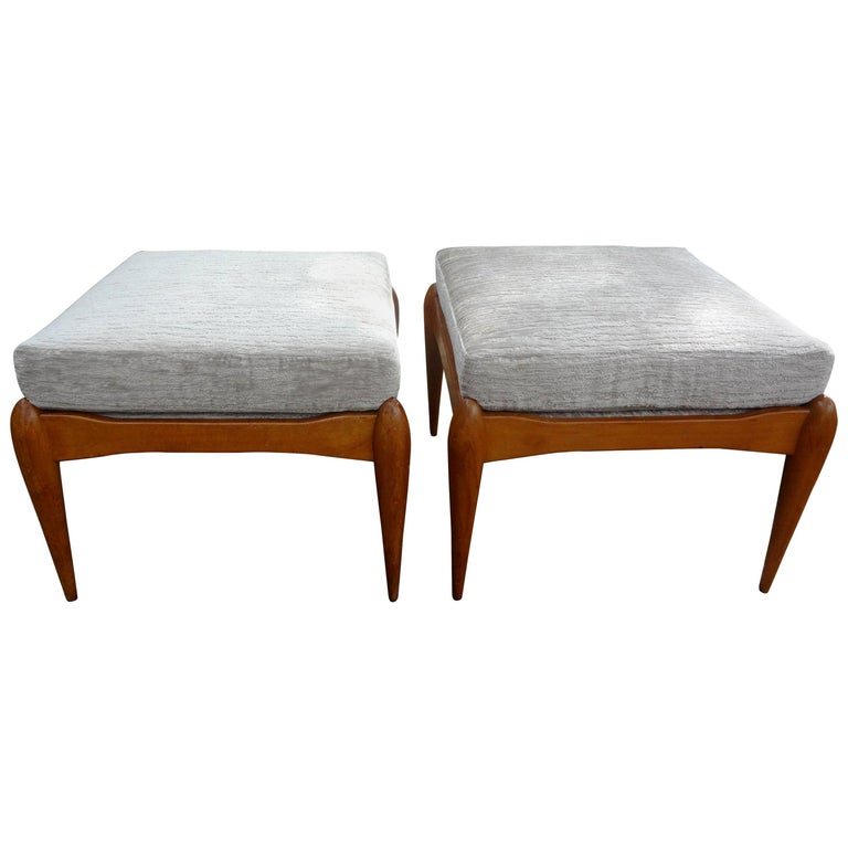 Pair of Italian Gio Ponti Inspired Midcentury Walnut Benches For Sale