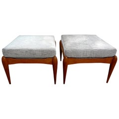 Pair of Italian Gio Ponti Inspired Midcentury Walnut Benches
