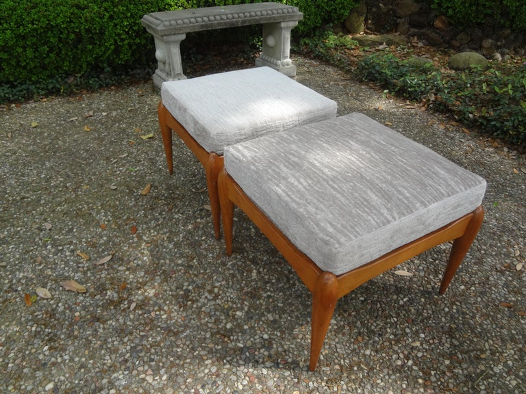 Pair of Italian Gio Ponti Inspired Midcentury Walnut Benches For Sale 2