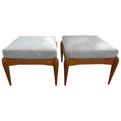 Pair of Italian Gio Ponti Inspired Walnut Benches