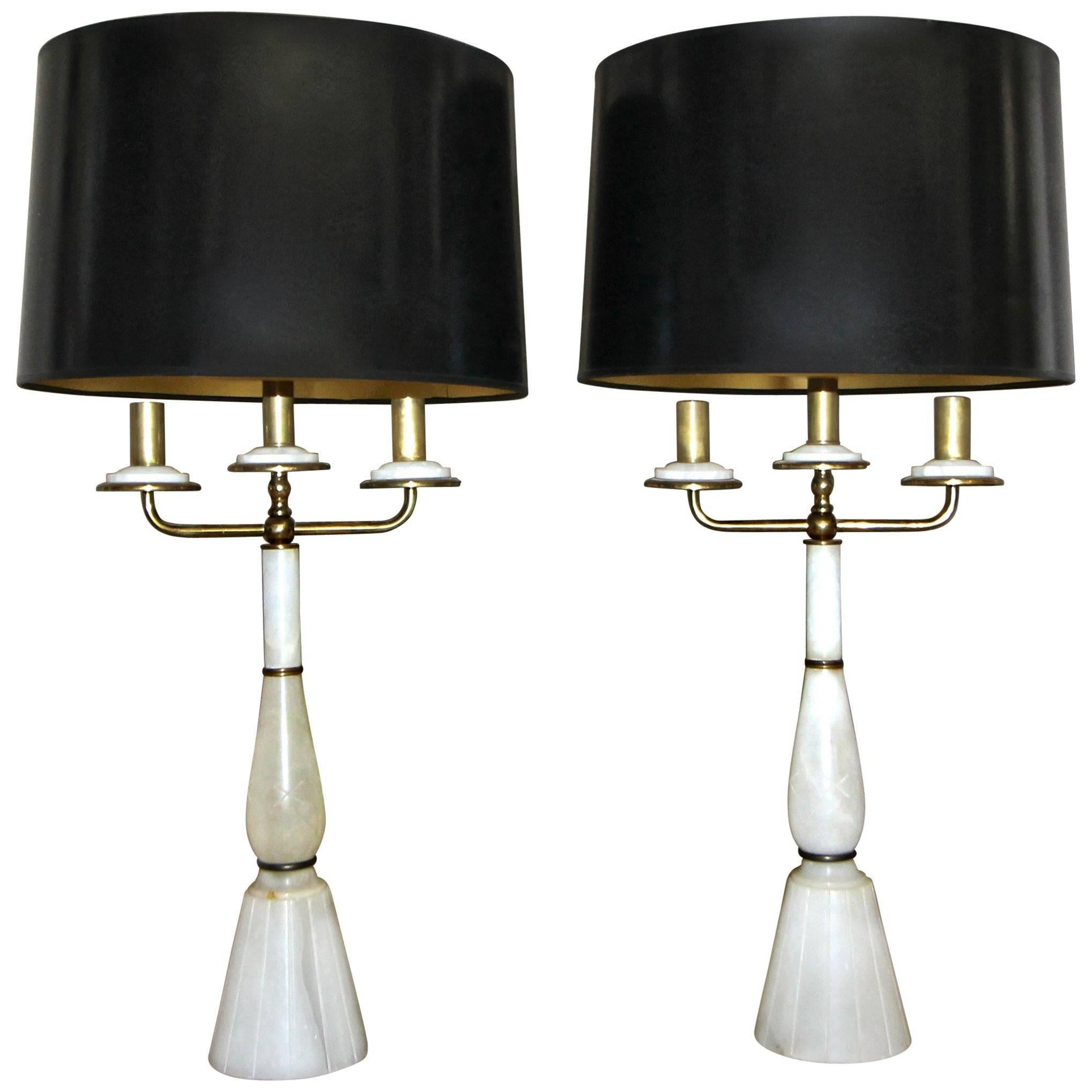 Pair of Italian Gio Ponti Style Alabaster Brass Lamps