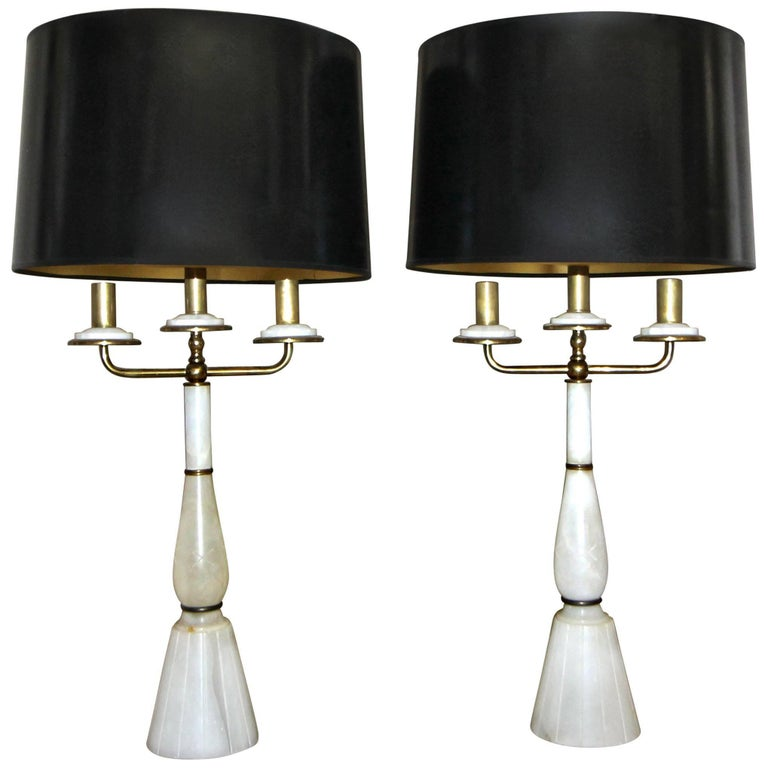 Pair of Italian Gio Ponti Style Alabaster Brass Lamps For Sale