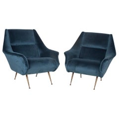 Pair of Italian Gio Ponti Style Armchairs from the 1950s, Brass Legs, Color Blue