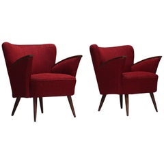 Pair of Italian Gio Ponti Style Club Chairs in Red Wool Fabric, 1950s
