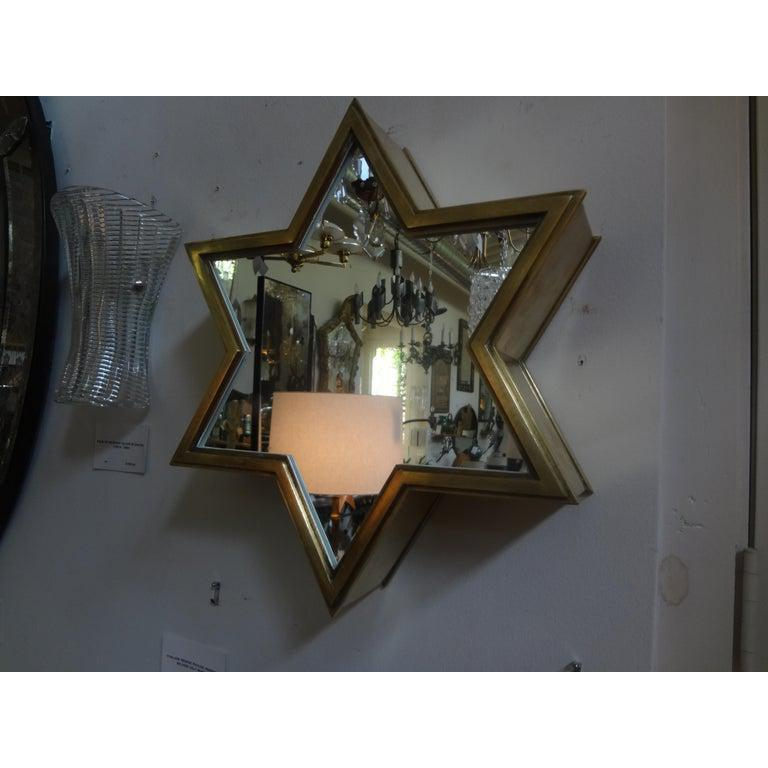 Pair of Italian Gio Ponti Style Mid-Century Modern Brass Star Shaped Mirrors For Sale 6