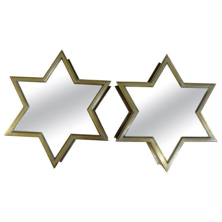 Pair of Italian Gio Ponti Style Mid-Century Modern Brass Star Shaped Mirrors For Sale 7